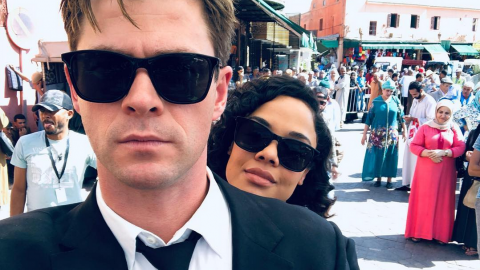 Chris Hemsworth Emma Thompson fin tournage Men in Black
