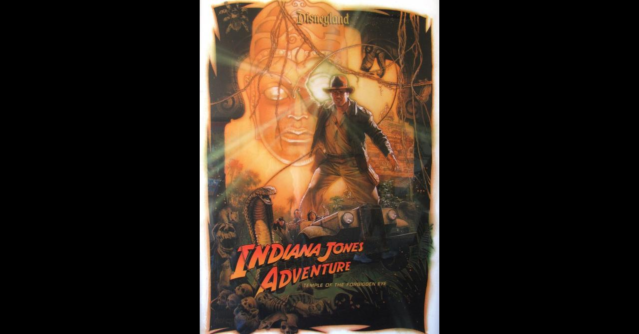 Poster de Drew Struzan pour l'attraction Indiana Jones (1995)